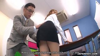 Pretty Office Japanese Is Nice With Her Friends