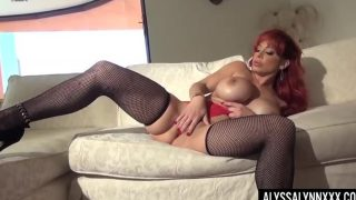 Porn XXX Alyssa Lynn In Attractive Purple And Black Fishnets